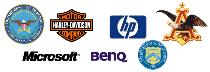 hp, microsoft, department of defense, us treasury, benq, harley-davison